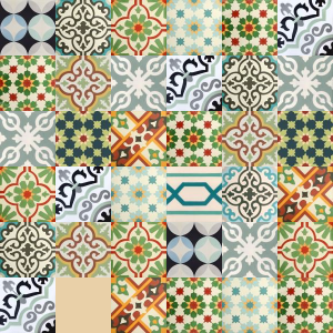 Carreaux de ciment Patchwork - nuances de vert