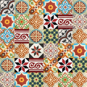 Carreaux de ciment Patchwork - nuances de rouge