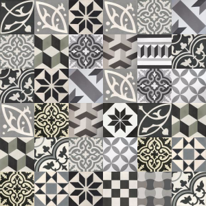 Carreaux de ciment patchwork - nuances de gris