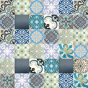 Carreaux de ciment Patchwork - nuances de bleu